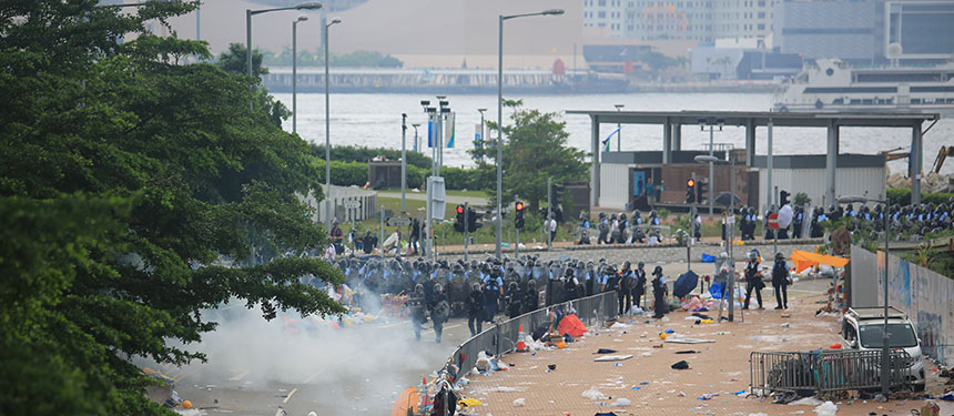 Protest In Hong Kong June 12 2019 And Riot Police Fire The Tear